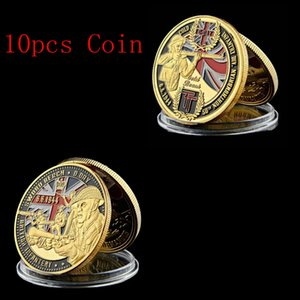5PCS WWII France Sword Beach Souvenir Challenge Euro Royal Engineers Gold Coin