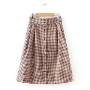 women plaid corduroy midi skirts faldas mujer buttons pockets vintage female chic mid calf skirt