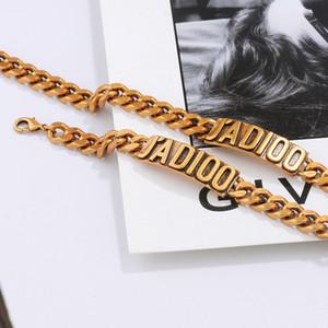 Retro Brass Letter Bracelet Women Clavicle Chain Neck Chain Designer Bracelet Brand Necklace Pendants Luxury Jewelry Sets