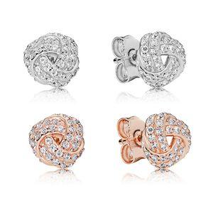 18K Rose gold Sparkling Love Knots Stud Pendientes Caja original para Pandora 925 Sterling Silver Women Girls Pendiente Set