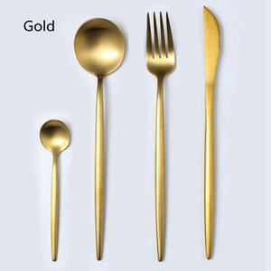 4pcs set Stainless Steel Tableware Portugal Cutlery Knife Fork and Spoon Flatware Western Dinnerware Party Wedding Cutlery Sets HHA1120