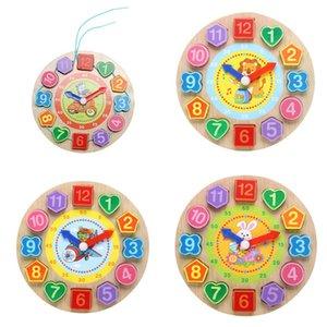 Digitale Karikaturtiere Holzspielzeug Kinder Puzzle Gewinde 3D Uhr 12 Zahlen Holz Puzzle pädagogisches Spielzeug Geometrie