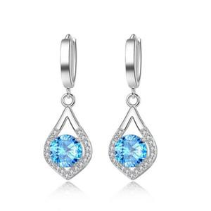 جديد الشظية Waterdrop CZ الزركون المجوهرات طويل فضي اللون استرخى أقراط Brincos Pendiente للنساء هدايا بوكل دي oreille