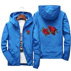 Роза Вышивка Куртки Мужчины Женщины Цветок Вышитые Полиэстер Hip Hop Повседневная куртки Плюс Размер S-7XL 2020
