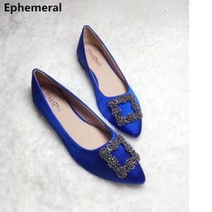 Mesdames Cheap Flats soie Stain bout pointu diamant Slip-on Chaussures de danse doux printemps respirant Mujer plus Taille 33-45 Royal Blue LY191202