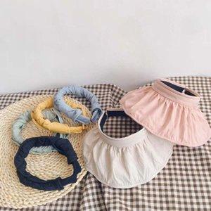 1 adet Çocuk Hat Çocuk Boys Kız Top Kumaş Katı Renk Can Rulo Shell Hat Yaz Nefes Güneş Caps boşaltın