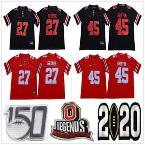 NCAA Ohio State Buckeyes College 27 Eddie George Football Jerseys Винтажные легенды Университет сшиты 45 Archie Griffin 150th Jersey