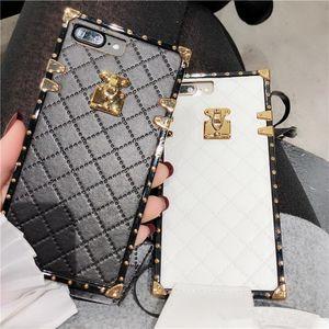 Luxus Retro Lammfell Gitter Fall für iphone XS MAX 6 6 s 6 plus 7 8 plus X XR Fashion Square Plating Metall Soft Phone Cover mit Lanyard