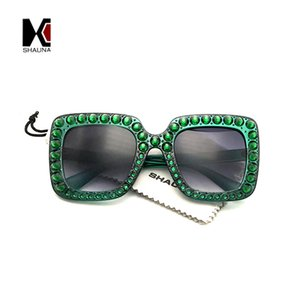 wholesale Crystal Decoration Trending Women Square Sunglasses Oversize Dark Green Frame Shades UV400