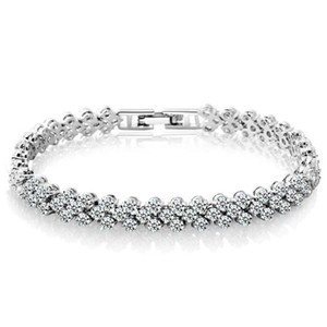 팔찌 실버 골드 테니스 팔찌 럭셔리 빛나는 CZ 다이아몬드 크리스탈 팔찌 팔찌 패션 주얼리 도매 무료 배송 0063WH
