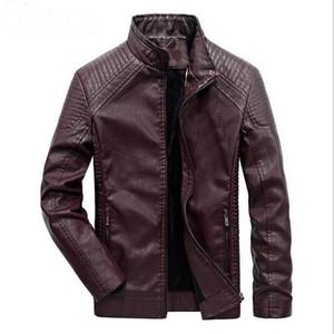 2019 hiver manteau de veste en cuir des hommes classique en cuir veste de moto manteau de loisirs plus velours manteau col montant