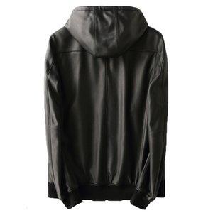Real Sheepskin Coat Hooded Bomber Genuine Leather Jacket Men Motorcycle Leather Jackets Coats Chaqueta Cuero Hombre KFS19M017