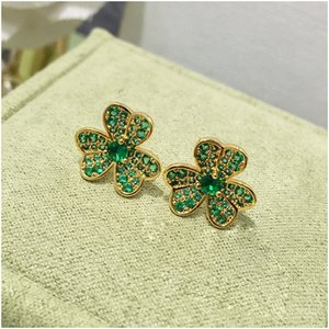 New Gold Star Hip Hop Jewelry Flower Stud Earring for Women Ice Out Stone Luxury Designer Jewelry Women Earrings Free Shipping with Box