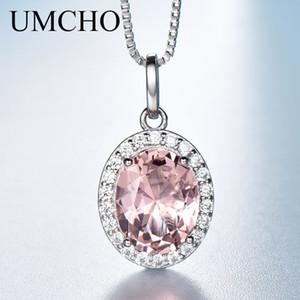 Umcho Luxury Pink Sapphire Morganite Colgante Para Las Mujeres Real 925 Collares de Plata Enlace Cadena de Joyería de Compromiso Regalo Nuevo J190705