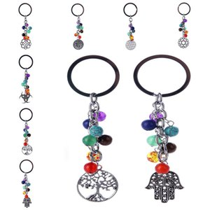 Hayat Çapa El Anahtarlık Ring Çanta kilitleniyor Anahtarlık ait İlham Yoga Chakra Doğal Taş Anahtarlık Antik Gümüş Ağacı