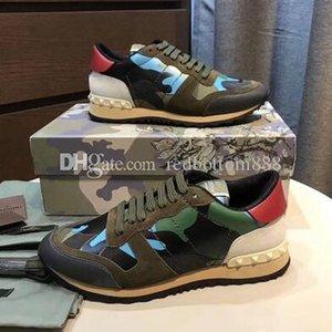 [Box Original] Sports Perfeito Rocha Runner Outdoor Homens Formadores de Moda Rocha Runner Sneaker Camouflage Couro Lazer Men Studded