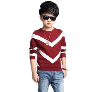 Günlük Dalga Stripes Çocuk Boy Triko Moda İlkbahar Sonbahar O-boyun Big Boy Triko Kazak Bebek Boys Kazak Çocuk Giyim