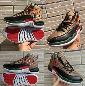 12 GS поколение змея тигр черный коричневый красный мужская баскетбольная обувь новый 12s мужчины змеиная кожа многоцветный спортивный дизайнер работает Chaussures
