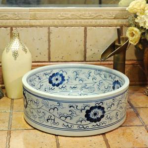 Chinês azul e branco bacia antigo lavagem pia de cerâmica cerâmica Bancada de lavatório Banheiro Pias pias de banheiro comerciais