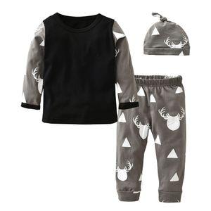 Autumn 2020 Hot Selling Baby Boy Girl Clothes Fashion Print T-shirt+Pants+Hat 3Pcs Set Newborn Toddler Baby Girl Clothing Set