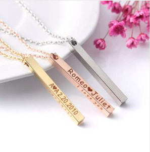 Women Name Necklace Personalized Custom Engrave Gold Silver Rose Gold Tone Bar Chain Pendant Necklace Four-sided Engraving