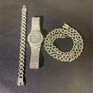 + Collar del reloj de pulsera + Hip Hop Bling hacia fuera helado Miami circón cubana completa Pave Rhinestone Pulsera hombres para los hombres collar de la joyería