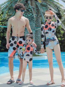 2019 girl's one-piece Children's wear parent-child детский купальник солнцезащитный крем baby men's three-mouth swimsuit