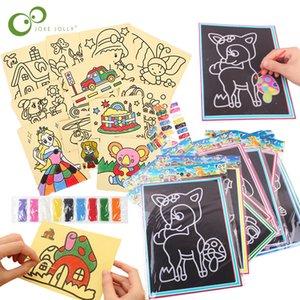 20pcs / 10Pcs magique Scratch Doodle Art Pad Cartes Peinture Sable Apprentissage Préscolaire Jouets éducatifs créatifs Dessin pour les enfants GYH