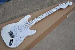 Hot venda de bordo Fingerboard Todos Guitarra elétrica branca com Branco Pickguard, hardware Chrome, 3 captadores single, pode ser personalizado