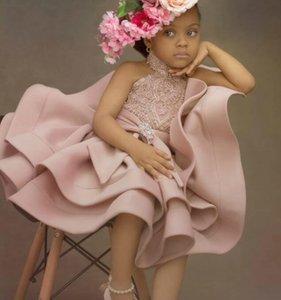 2020 Blush Pink Flower Girl платье кружево бисер линия Маленькой девочка Свадебного платья дешевого причастие Pageant платье платье F311