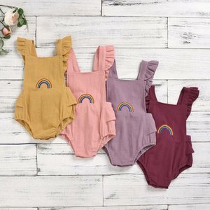 Toddle Dreieck-Spielanzug-Baby-Mädchen-Regenbogen-Stickerei Jumpsuits Kids Lace-up-Quadrat-Kragen Fly Sleeve Onesies Newborn Playsuits CYP709