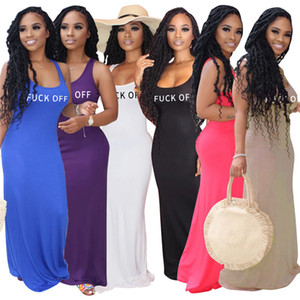 Women Dresses Fashion Solid Color Sexy Clothing Sleeveless Casual Dresses Scoop Neck Letter Dress Summer Hot Sale Clothes DHL 3064