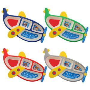 3шт / Set Волокно бамбука Детский пластинчатый Aircraft Форма сетки Чаша питание вилка ложка Набор для кормления Посуда для младенцев Детская Посуда Набор столовых приборов Набор