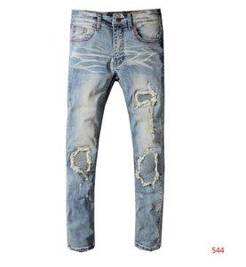 19SS Designer Herren Jeans Distressed Ripped Biker Jeans Slim Fit Motorradfahrer Luxus-Denim-Jeans der neuen Marken-Modedesigner-Hosen