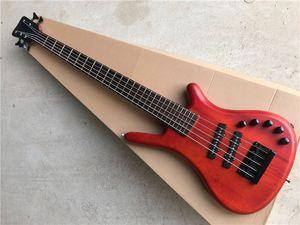 블랙 하드웨어와 사용자 정의 5 문자열 목 스루 바디 레드 - 브라운 전기베이스 기타, 능동 회로는, 사용자 정의 할 수 있습니다