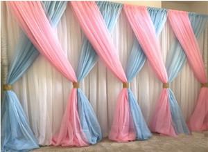 Lastest Style Pink mit himmelblauem Hochzeitshintergrundbühnendekorationshintergrundschleier-Hochzeitsdekoration