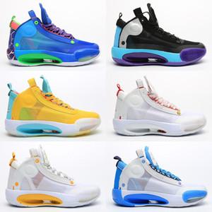 2020 Nouvelle arrivée Jumpman 34 Bleu O Snow Leopard 34 chaussures de basket-ball hommes XXXIV bleu Void Bred 34 formateurs Eclipse espadrille sport rétro