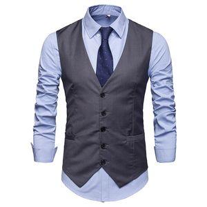 2019 Mens Slim Fit Single Breasted Suit Vest New Brand Formal Dress Business Wedding Vest Chaleco Hombres Chaqueta de color sólido