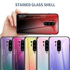 Ultra Slim Gradiente de cor tampa do telefone Suave vidro temperado Capa OnePlus 8 Pro T7 7 7 Pro T6 6 T5 5