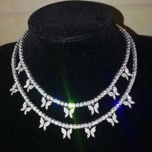 ghiacciato fuori collana pendente a farfalla per gli uomini donne ciondoli dal design di lusso con diamanti catena catena di gioielleria 4 millimetri tennis collana hip hop