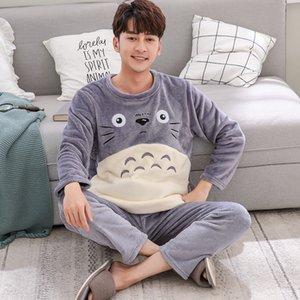 Karikatür Pijama Takımı Erkek Giyim Coral Polar Pijama Sonbahar Kış Fanila Kalınlaşmak Sıcak pijamalar Suit Casual Homewear XXXL Y200422