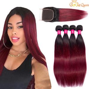 Ombre Menschenhaar-Bündel mit Closure 1b 99J Burgund Glattes Haar 3 Bundles mit Closure Raw Virgin Indian Hair Extensions