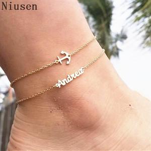 Nombre personalizado de acero inoxidable Anklet Cadena de letras hechas a mano reales Pulseras de tobillo de joyería personalizada con nombre Cheville
