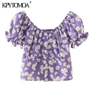 KPYTOMOA Women 2020 Fashion Floral Print Button-up Cropped Blouses Vintage Short Sleeve Back Elastic Female Shirts Chic Tops