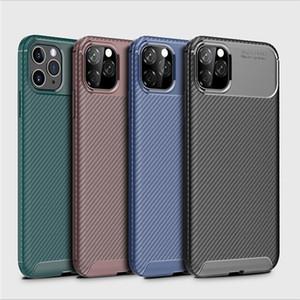 Caja de la fibra de carbono para el iPhone Caso 12 Mini SE 2020 11 Pro X XR XS protectora suave teléfono cubierta de parachoques Max