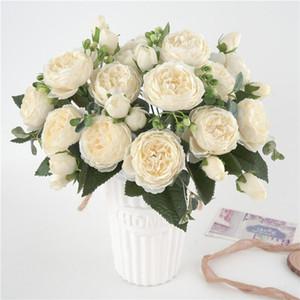 5 Büyük Başkanları / Buket Şakayık Yapay Çiçekler İpek Şakayık Buket 4 Bud Çiçek Düğün Ev Dekorasyon Sahte Şakayık Gül Çiçek