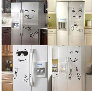 Yeni 4 Stilleri Gülümseme Yüz Duvar Sticker Mutlu Lezzetli Yüz Buzdolabı Çıkartmalar Yummy Gıda Mobilya Dekorasyon Sanat Posteri DIY için PVC