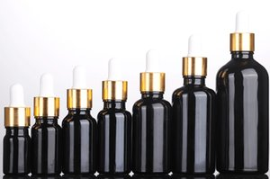 Empty 10ml 15ml 20ml 30ml 50ml 100ml Black Glass Bottle Essential Oil Perfume Packaging Dropper Cosmetic Container