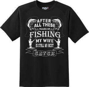 Funny My Wife Is Still My Best Catch Fish T-shirt New Graphic Tee T-Shirt Men Black Short Sleeve Cotton Hip Hop T-Shirt Print Tee