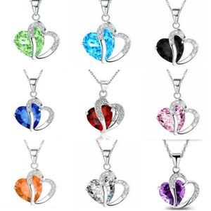 2019 cristallo di lusso cz cuore collana donne cubic zirconia diamante ciondolo amore placcato argento catena per il regalo di gioielli moda femminile